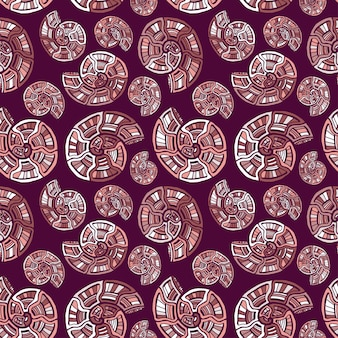 Ornamental shells seamless pattern
