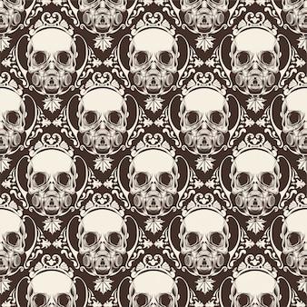 Ornamental skull seamless pattern