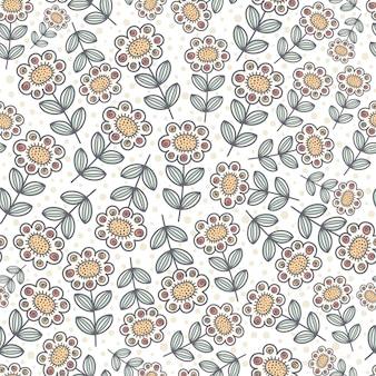 Ornamental sunflowers seamless pattern