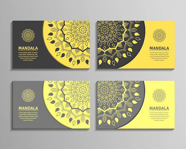 Ornamental template for business card, flyer or banner with round mandala. ornamental mandala. stylish geometric pattern in oriental style.