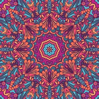 アズレージョスタイルの装飾タイルデザイン。シームレスパターンの唐草の花