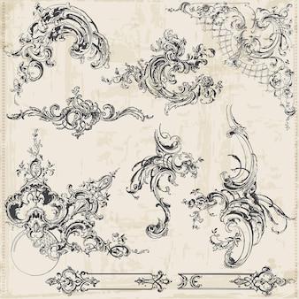 Коллекция декоративных старинных бордюров с цветами