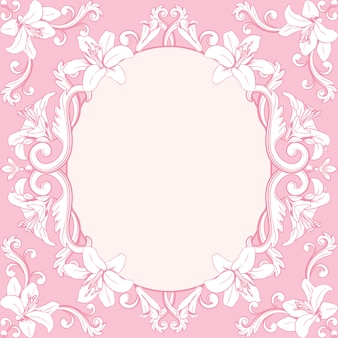Ornamental vintage frame with lilies in pink