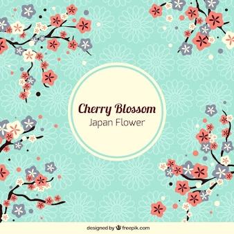 装飾用ビンテージ日本の花の背景 Premiumベクター