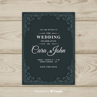Ornamental vintage wedding invitation template