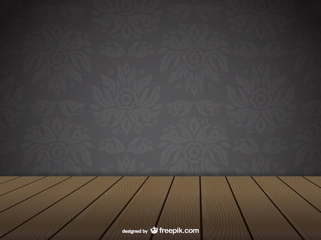Ornamental wall and wooden floor
