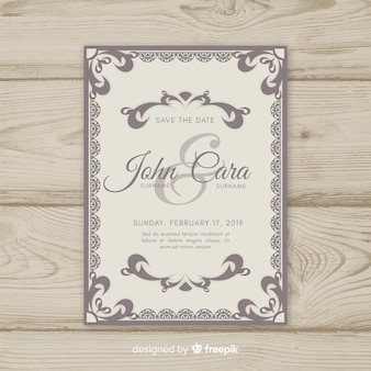 Ornamental wedding card template