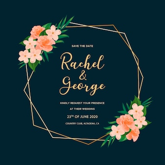 Ornamental wedding card with roses