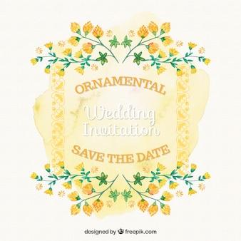 Декоративные свадебная открытка с акварельными желтыми цветами