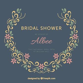 Ornamental wedding frame with decorative flowers