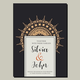 Ornamental wedding invitation card  vector.