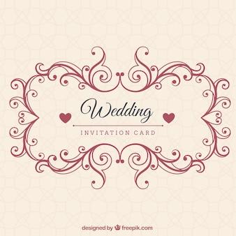 Ornamental wedding invitation card Premium Vector