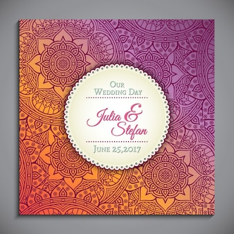 Ornamental wedding invitation in ethnic style