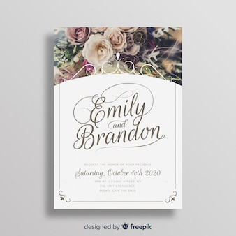 Ornamental wedding invitation template with image