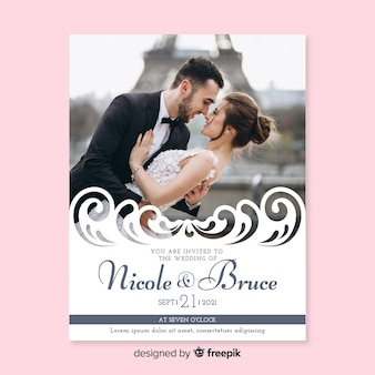 Ornamental wedding invitation template with photo