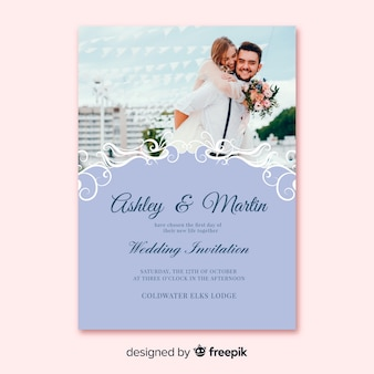 Ornamental wedding invitation template with photo