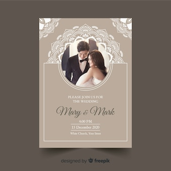 Ornamental wedding invitation with photo