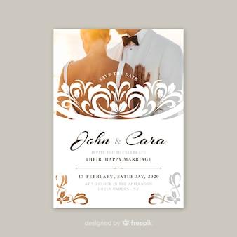Ornamental wedding invitation with photo