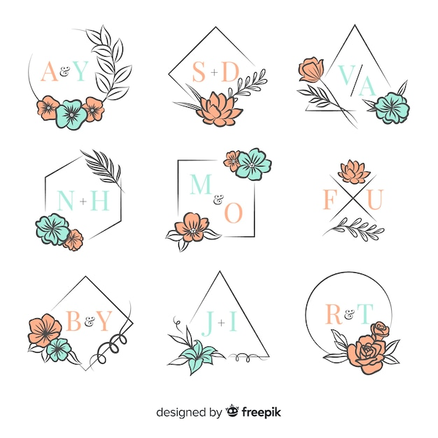 Ornamental wedding monogram collection
