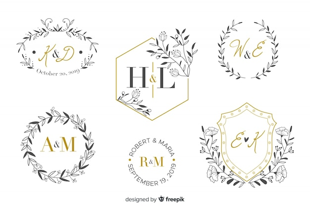 Ornamental wedding monogram collection