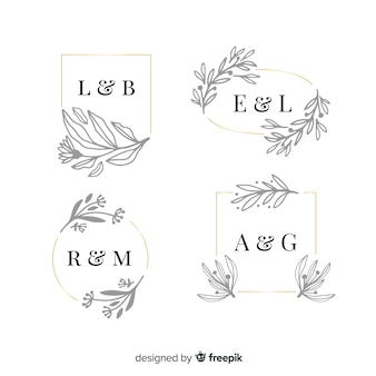 Ornamental wedding monogram pack