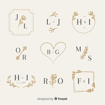 Ornamental wedding monogram set