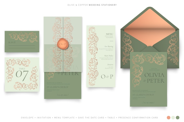 Ornamental wedding stationery in olive and copper color palette