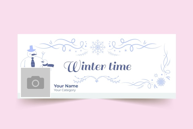 Ornamental winter facebook cover template