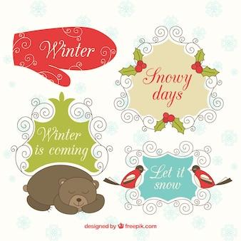 装飾冬のラベル