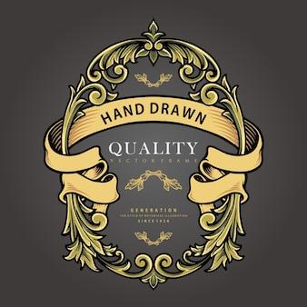 장식품 배지 번성 빈티지 벡터 삽화 로고, 마스코트 상품 티셔츠, 스티커 및 라벨 디자인, 포스터, 인사말 카드 광고 비즈니스 회사 또는 브랜드.