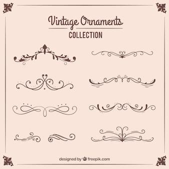 Collezione di ornamenti in stile vintage
