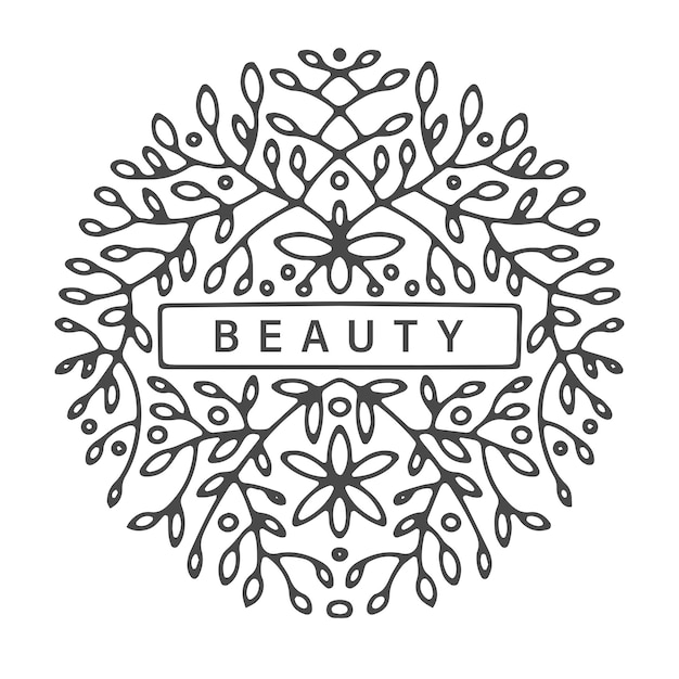 Ornaments and flora, botanical logotype with flowers and branches with foliage. leafage with border for text, copy space and decor. fashion and beauty. colorless floral design, vector in flat style