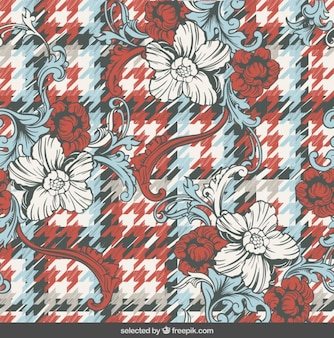 Ornaments on houndstooth background