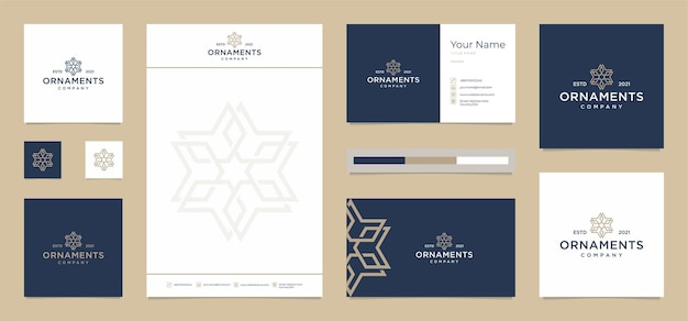 Ornaments modern with free business card,letterhead