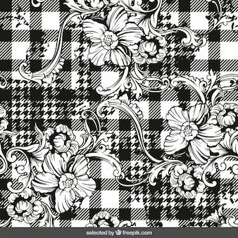 Ornaments on checkered background
