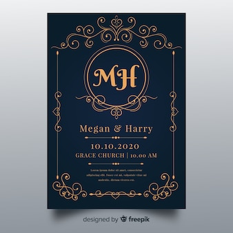 Ornaments wedding invitation template