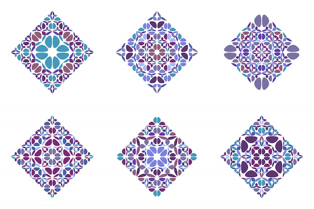 Ornate abstract geometrical petal diagonal square set