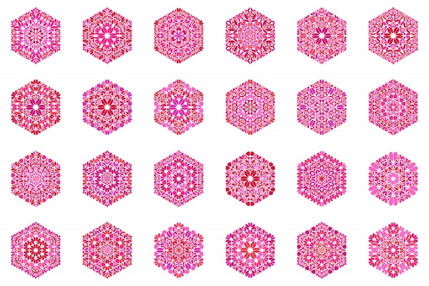 華やかな抽象的な分離花六角形シンボルテンプレートセットセット