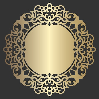 Ornate circle frame. lace round border. mandala style vector decorative element. lace edged paper doily, wedding decor, design element, cake board cover. invitation, menu design.