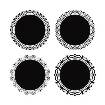Ornate circle frame vector