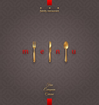 Ornate cover menu with golden cutlery -  illustration