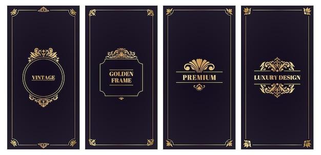 Ornate damask cards. golden frame wedding card or invitation, elegant greeting cards set