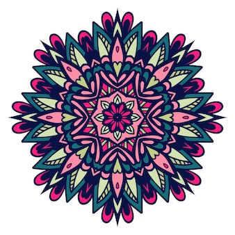 Ornate, eastern mandala with flower. round, colorful ornament isolated on a white background.