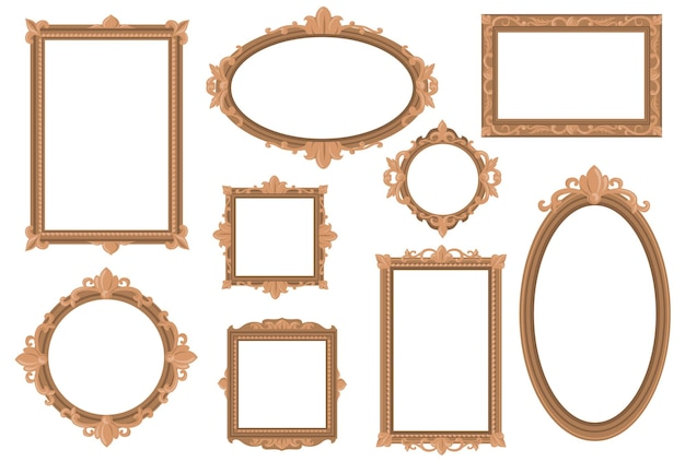 Ornate empty golden borders flat set for web design.