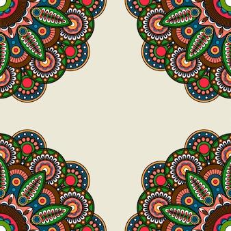 Ornate floral round motifs frame