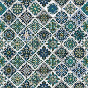 Ornate floral seamless pattern with vintage mandala
