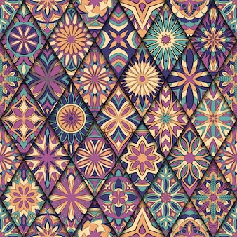 Ornate floral seamless pattern with vintage mandala