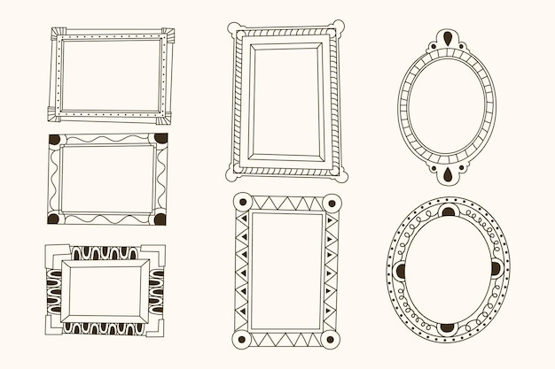 Ornate frame decoration hand drawn copy space pack