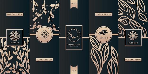 パッケージデザインテンプレートの華やかなフレームと豪華なパターンのロゴ。