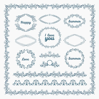 Ornate frames and borders page elements. florid and floral, romantic.